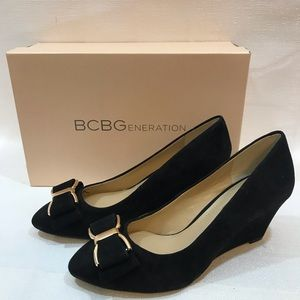 BCBGeneration Black suede wedge 7 M new in box